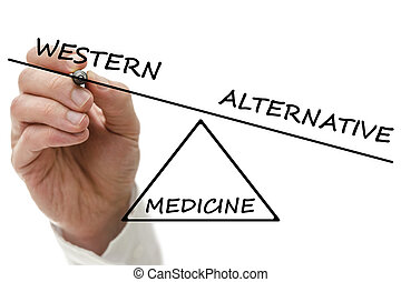 Hand drawing scale with Western versus alternative medicine.