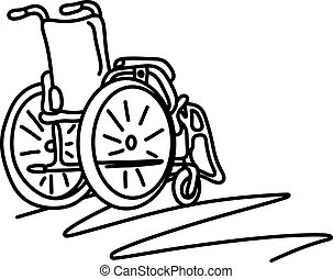 wheelchair with copyspace vector illustration sketch hand drawn with black lines isolated on white background