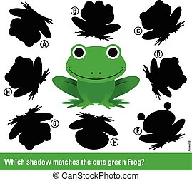 Which shadow - Educational kids puzzle with cute smiling green frog surrounded by variations of shadow shapes to select and match to find a solution, vector illustration