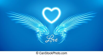 White angel wings and heart on blue background. Glowing fantasy, Valentines day attribute. Inscription love. Happy greeting card silhouette illuminated luxury glow. Design vector illustration.