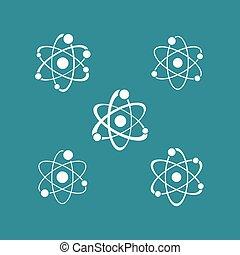 White atom sign icons collection logo