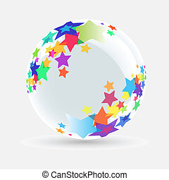 White ball with star on white background