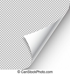 White curled paper corner with shadow