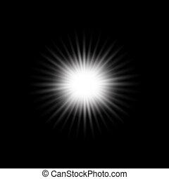 White glowing light burst explosion