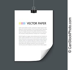 White paper sheet with curled corner