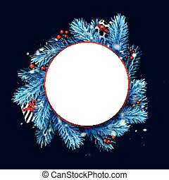 White round frame with blue spruce branches.