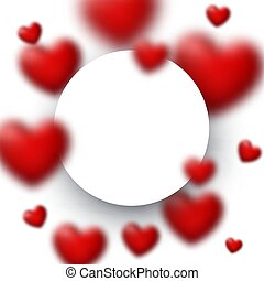 White round frame with blurred red hearts.