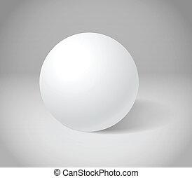 White sphere on grey scene