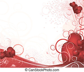 White valentines background with hearts, pattern, ornament and stars