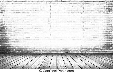 White wood floor with brick wall background