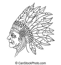 WIFE American Native Indian Portrait Vector Illustration