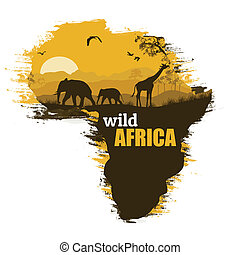 Wild african animals silhouettes on the map of Africa, with space for your text, vector illustration