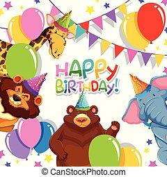 Wild animal in birthday template