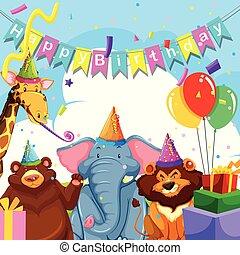 Wild animal on birthday template
