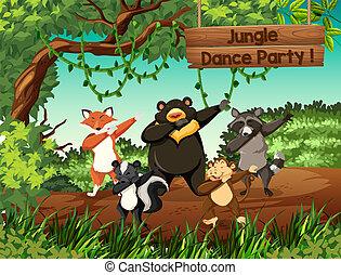 Wild animals jungle dance party