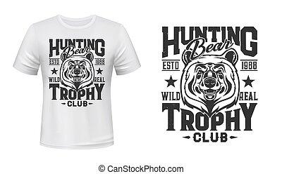 Wild bear t-shirt custom print vector mockup