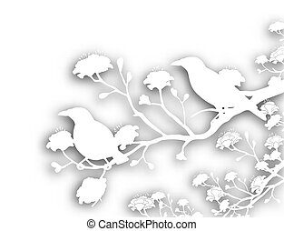 Editable vector cutout illustration of a pair of wild myna birds with background shadow made using a gradient mesh