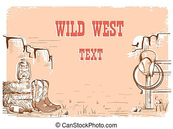 Wild west cowboy background for text.