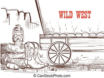 Wild west hand draw background with cowboy boots and western wagon.