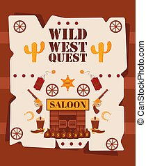 Wild West quest poster, vector illustration. Cartoon style symbols of American western cowboy adventures. Wild west style game invitation, fun event announcement
