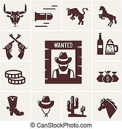 Wild West wanted poster and associated icons of crossed guns a snorting bull rearing bull horse mustang bullet beer for a saloon money cowboy boot stetson hat cactus vector illustrations