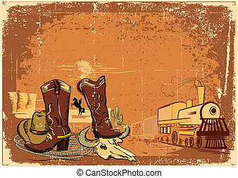 wild western background with locomotive on old paper texture.