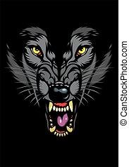 wild wolf head in the dark night