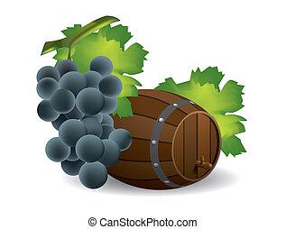 Wine barrel and grape