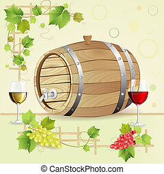 Wine barrel with grapes and glasses