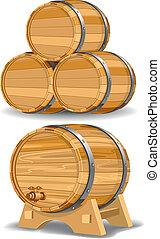 Wooden wine barrel, vector editable illustration