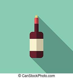 Wine bottle, long shadow