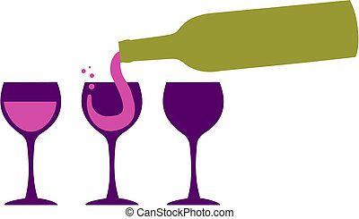 Bottle serving red wine in three wineglasses. White background