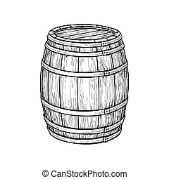 Wine or beer barrel isolated on white background. Vector illustration.
