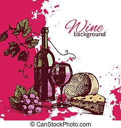 Wine vintage background. Hand drawn illustration. Splash blob retro design