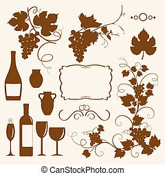 Winery design object silhouettes. Vector illustration.