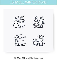 Winter fun line icons set. Editable illustration