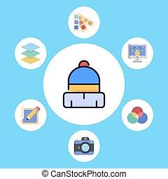 Winter hat vector icon sign symbol