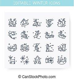 Winter holidays fun line icons set. Editable