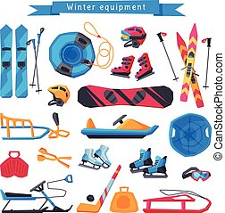 Winter Outdoor Sports and Leisure Equipment Collection, Inflatable Snow Tubing, Sled with Steering Wheel, Skis and Sticks, Hockey Stick, Puck and Ice Skates, Snowmobile Vector Illustration