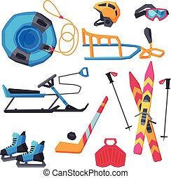 Winter Outdoor Sports and Leisure Equipment Collection, Inflatable Snow Tubing, Sled with Steering Wheel, Skis and Sticks, Hockey Stick, Puck and Ice Skates, Helmet, Vector Illustration