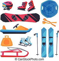 Winter Outdoor Sports and Leisure Equipment Collection, Snowboard Board, Helmet and Boots, Sled, Mountain Skis and Sticks, Ice Skates, Snowmobile, Snowball Making Tool Vector Illustration