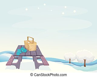 Winter Picnic Scene Illustration