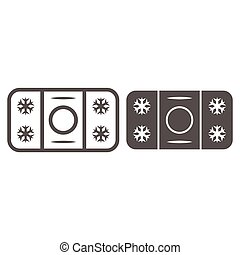 Winter skating rink line and solid icon, World snow day concept, ice hockey field sign on white background, hockey rink icon in outline style for mobile concept and web design. Vector graphics.