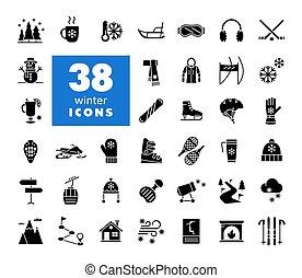 Winter vector glyph icon set