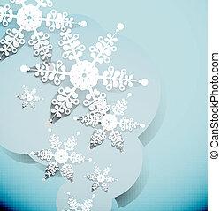 Winter white snowflake background