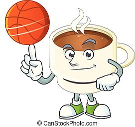 With basketball a cup coffee in the morning