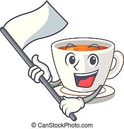 With flag mint tea in a cartoon cup