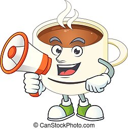 With megaphone a cup coffee in the morning