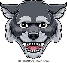Wolf Mascot Cute Happy Cartoon Character
