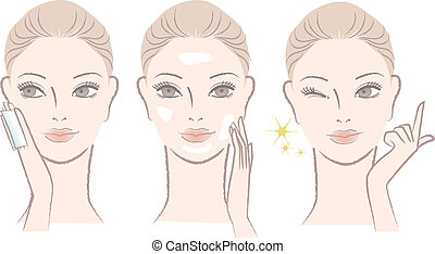 woman applying skincare lotion